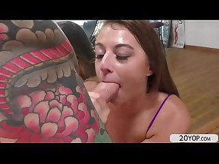 Teen Gia Derza sucks bigcock before her pussy and ass gets fucked
