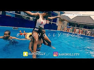 Ogabang and wizzybang - teaching amature ebony slayqueens on how to swim .
