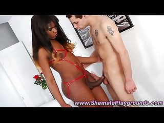 Black shemale babe takes turns