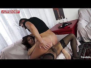 LETSDOEIT - Sexy Tranny Gets Rough Sex on the Couch