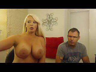 Busty blonde sucks on her lovers cock