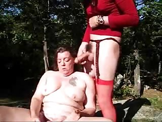 Old slut having fun with strangers outdoor