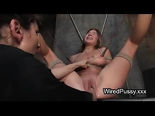 Bound wired babe pussy fist fucked