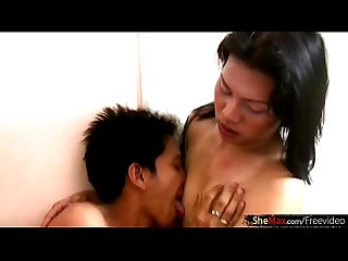 Asian TS girlfriend gets her asshole penetrated by big shaft