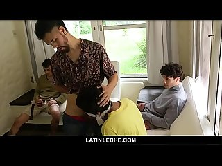 LatinLeche - Cute Boy Gets His Asshole Plowed By Three Guys