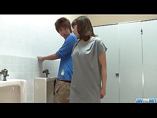 Riho Mikami sucks a stiff dick in a public toilet - More at 69avs com