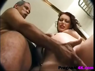 Pregnant hottie pussy licked and banged roughly