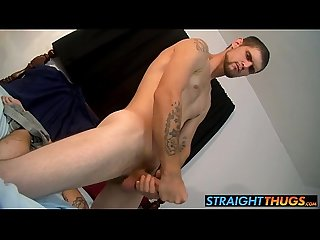 Straight thug nolan is alone in bed and wanking his big cock