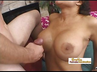 Experienced busty slut stuffed like a thanksgiving turkey and cummed on