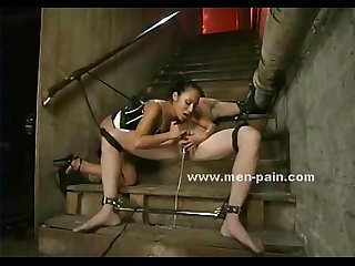 Sexy lady face sitts and tortures slave