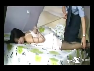 Beautiful girl get tied up by police http tiedherup com