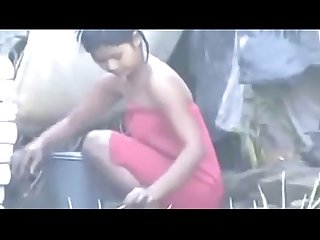Indian hot village girl bathing outside comma