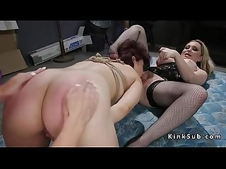 Two slaves suffering anal fucking lezdom