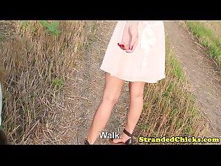Hitchhiking eurobabe teases then sucks