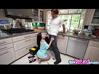 Cutie Cindy Starfall on her knees and blowjobs a big cock