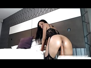 Ms Alina Riding Dildo in a sexy body suit