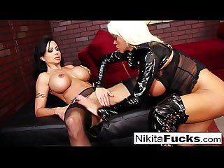 Nikita Von James and Jewel Jade fuck each other with a strap-on