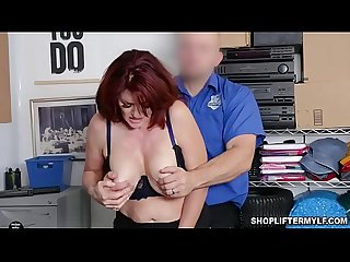 Bustylicious redhead MILF Andi James is a shoplifter. She stole sunglasses and caught by an..
