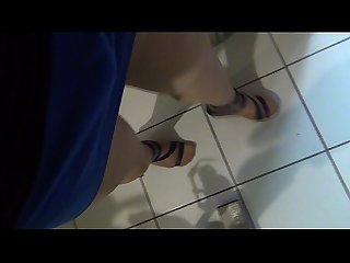 Shiny pantyhose legs crossdresser masturbating