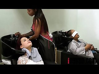 Sarah Banks, Sabina Rouge In Full Service Hair Salon