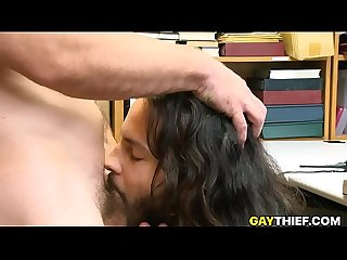 Long hair latino thief barebacked by security officer