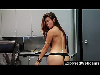 Webcam show at the office with hot asian