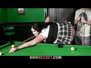 Her bf screws fat bitch on the pool table