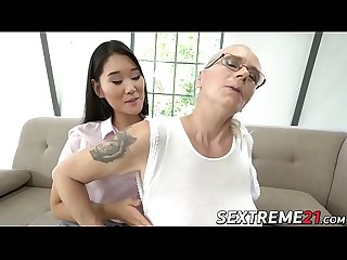 Asian dyke Katana eats mature pussy before rimming