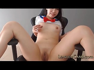 Uncensored Japanese Teen School Girl Fucks her Smooth Wet Pussy