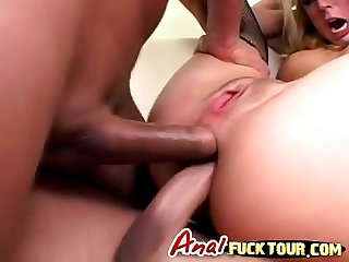 Blonde whore crazy double penetration Anal hardcore on cam