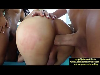 Interacial tranny babes in hardcore orgy