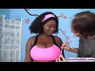 Cute BBW ebony Marie Leone showed wonderful blowjob on persona-a-sexy-workout-hd