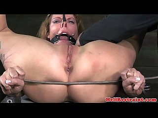 Tied up nipple clamped sub clit vibrated