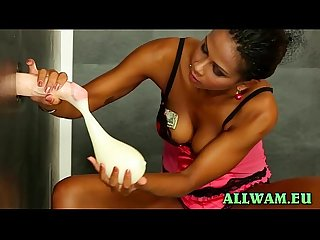 Hot ebony gets all slimy