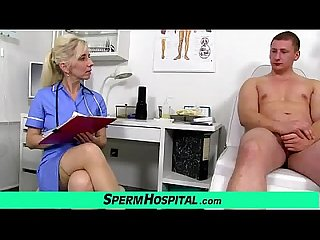 Stocking legs cougar doctor maya stroking penis till cum on tits