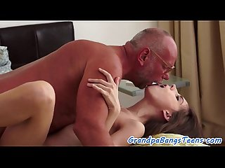 Young babe squirting on grandpas cock