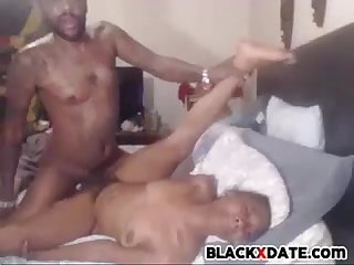 Black babe screaming while she gets fucked by BBC