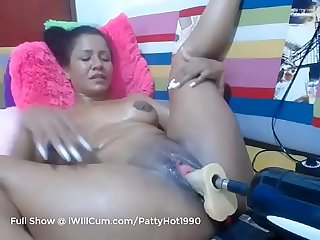 Thick Latina MILF Creams Her Pussy on Man and Machine