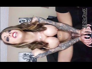 Tattoo TEEN Karma Rx on Sybian Sex Machine DOUBLE PENETRATION