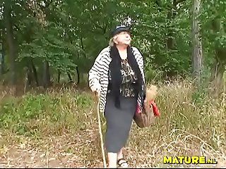 Fat bbw granny and a jogger outside in the woods
