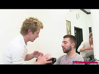 Athletic jock hairdresser pounded