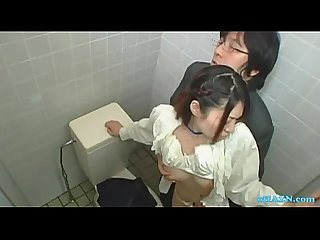 Office lady getting her hairy pussy licked sucking guy in the toilette