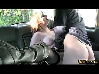 Hot redhead amateur gets banged outdoors with the driver