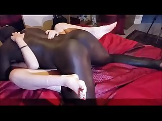 Homemade husband films wife with black