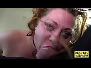 Throated curvy submissive gets spermed