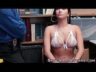 Real shoplifter tugs cock