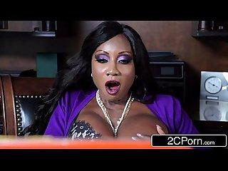 Horny ebony milf boss diamond jackson fucks her skinny loser employee