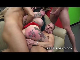 Megan Inky first time on LP with nasty deepthroat & balls deep DP S006