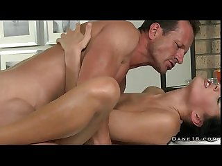 Hot brunette gets rimming by masseur