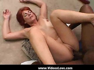 Redhead hottie seduces black delivery boy